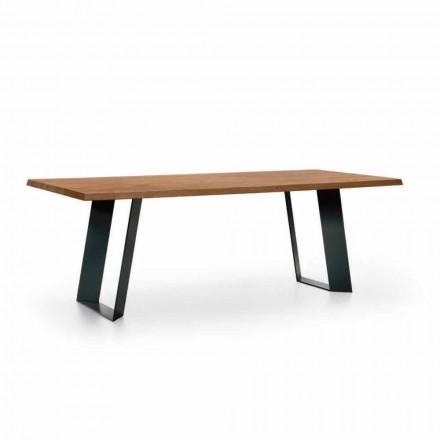 Mesa de Jantar Design em Abeto com Pernas de Metal Preto Made in Italy - Kroma