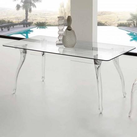 Mesa de jantar de design moderno com tampo de vidro temperado Jinny