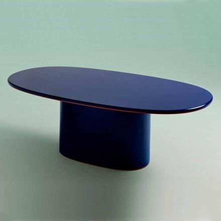 Mesa de Jantar Oval com Design Moderno em MDF Azul e Cobre Made in Italy - Oku