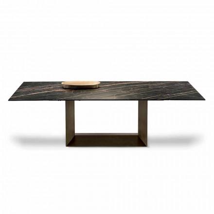 Mesa de jantar extensível em cerâmica e metal fabricada na Itália - marrom escuro
