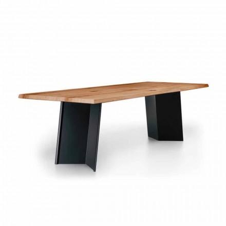 Mesa de jantar de design com tampo de carvalho atado Made in Italy - Simeone