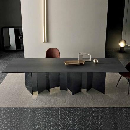 Mesa de jantar design em base de cerâmica e vidro fumado fabricada na Itália - aleatória