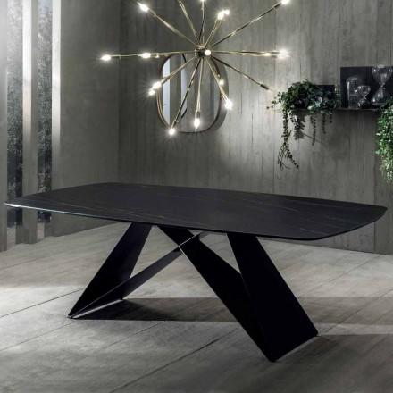 Mesa de Jantar Design em Cerâmica Portoro Effect e Matt Metal - Falcon