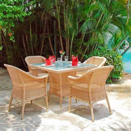 Mesa de jantar artesanal Chade, tecelagem artesanal