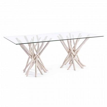 Mesa Jantar Design em Vidro e Teca Branqueada Homemotion - França