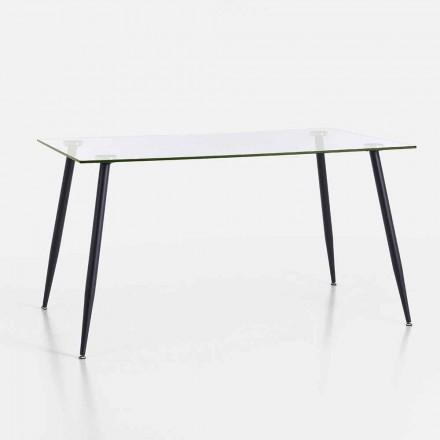 Mesa de Jantar de Design Moderno em Vidro Temperado e Metal Preto - Foulard