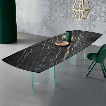 Mesa de jantar de cerâmica e base de vidro extraleve fabricada na Itália - aleatória