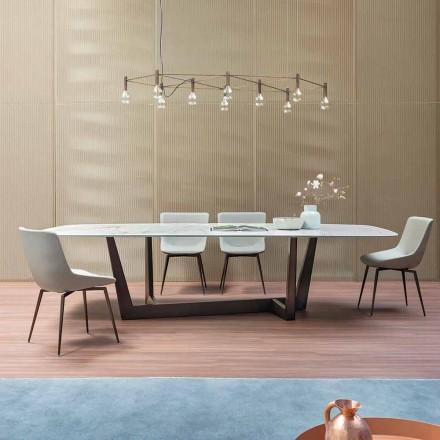 Mesa de jantar de bronze de cerâmica e metal fabricada na Itália - Art