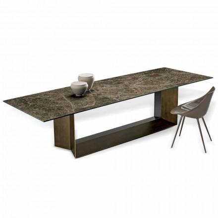 Mesa de jantar Emperador em cerâmica e metal bronze fabricada na Itália - marrom escuro