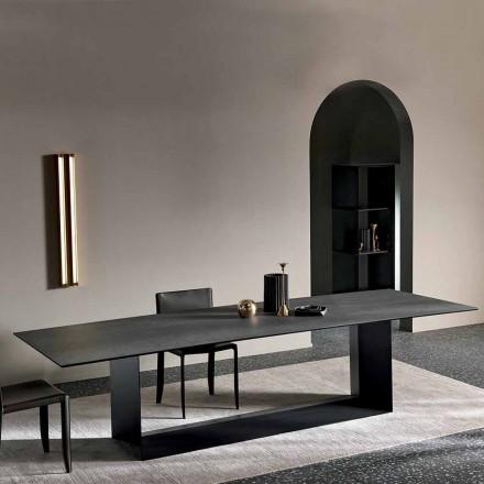 Mesa de jantar em cerâmica antracite Savoy Stone Made in Italy - Dark Brown