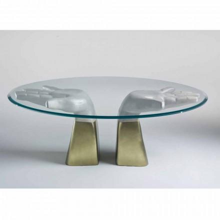 Mesa de jantar de madeira Bartolo com tampo de vidro, design italiano moderno