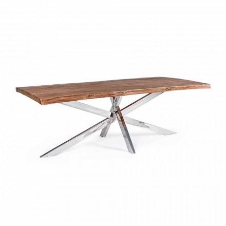 Homemotion Design Mesa de Jantar de Madeira e Aço Inox - Kaily