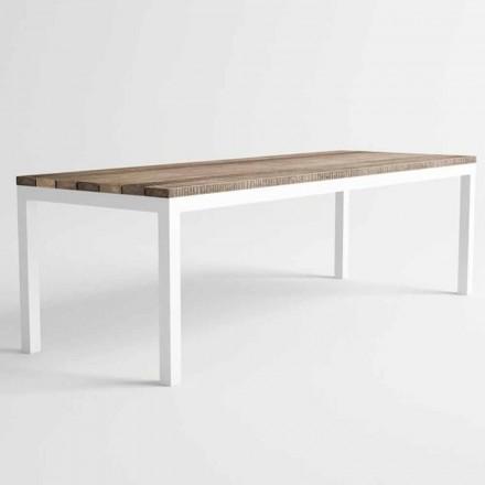 Mesa de jantar de madeira e alumínio para exterior de design moderno - Ganges