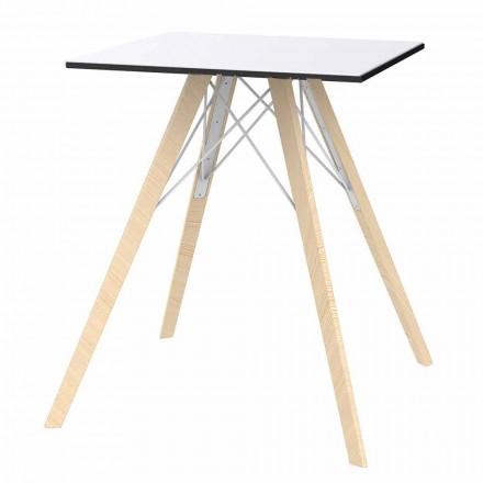 Mesa de jantar Square Design Wood e Hpl, 4 peças - Faz Wood by Vondom