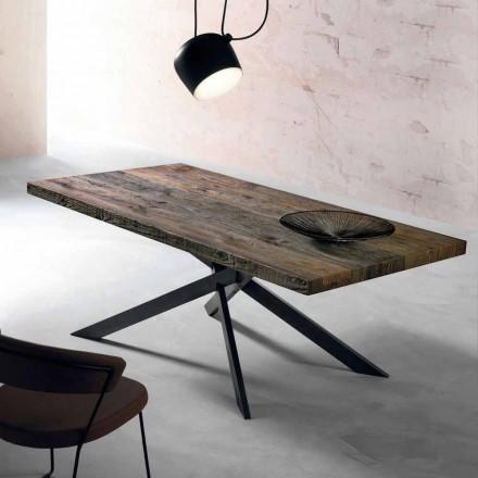 Moderna mesa de jantar em madeira maciça feita na Itália, Oncino