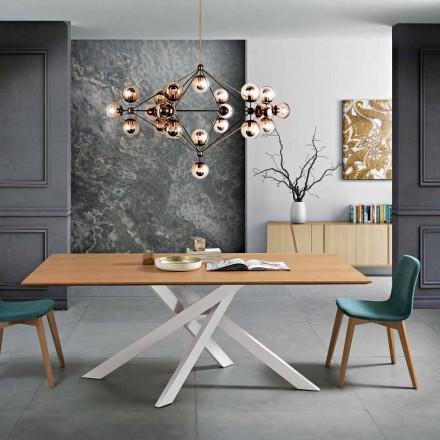Moderna mesa de jantar em madeira e metal MDF made in Italy, Dionigi