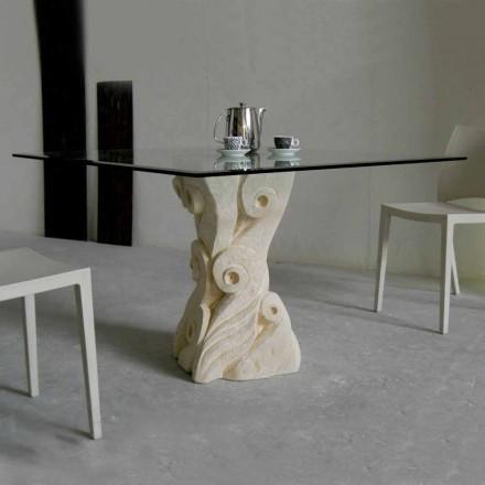 Mesa de jantar com base em pedra de Vicenza Giasone, feita à mão em Itália