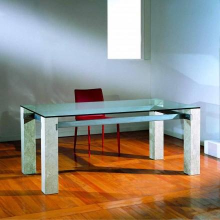 Moderna mesa de jantar feita de cristal e Vicenza pedra natural Ebea