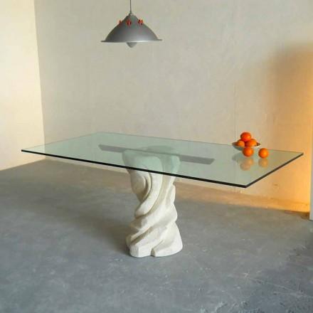 Designer mesa de jantar feita de pedra natural Vicenza e cristal Urano