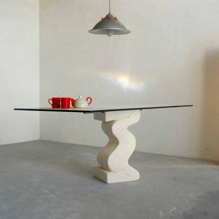 Made in Italy mesa de jantar, Vicenza pedra natural e cristal, Anteros
