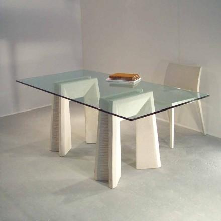 Moderna mesa de jantar feita de pedra natural Vicenza e cristal Arianna