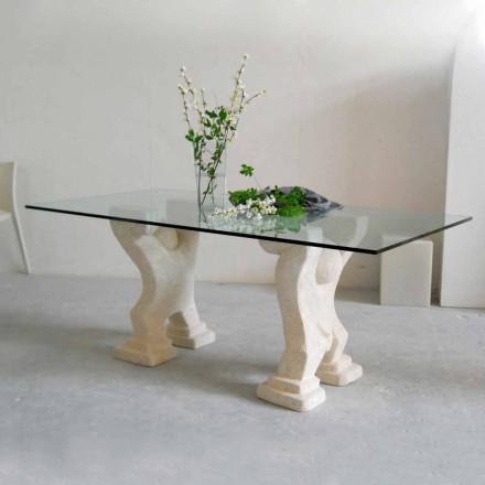 Moderna mesa de jantar com base de pedra natural Vicenza Medusa, tampo de cristal