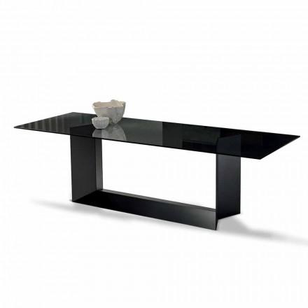 Mesa de jantar em vidro fumado ou extraleve e metal fabricado na Itália - Moro