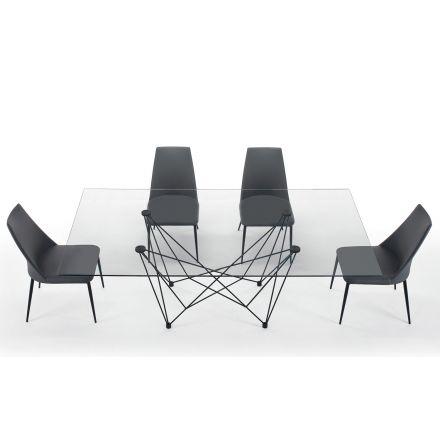 Mesa de jantar em vidro temperado e aço preto fabricada na Itália - Ezzellino