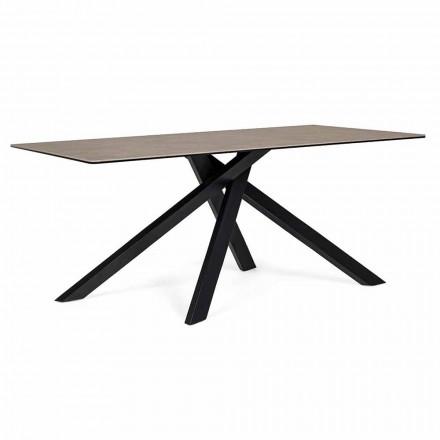 Mesa de Jantar Moderna com Tampo em Cerâmica e Vidro Homemotion - Ringo