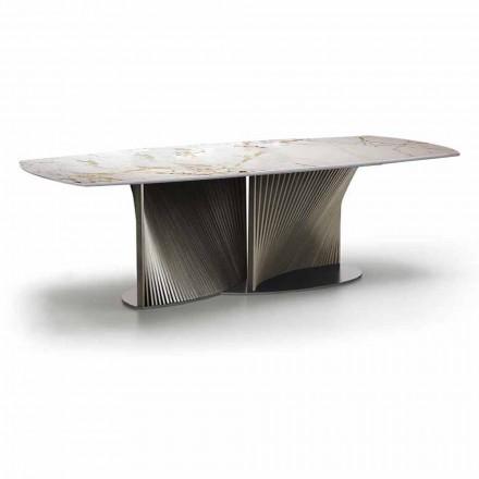Mesa de Jantar Luxo em Grés e Madeira de Freixo Made in Italy - Croma