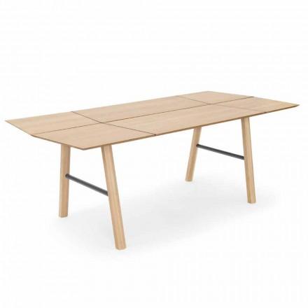 Mesa de jantar moderna em madeira de freixo com detalhes em preto ou dourado - Andria
