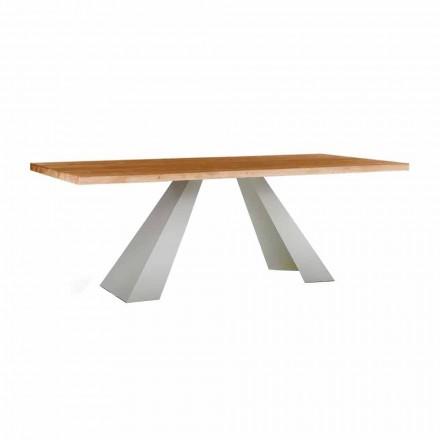 Mesa de Jantar em Madeira e Metal Branco, Alta Qualidade Made in Italy - Miuca