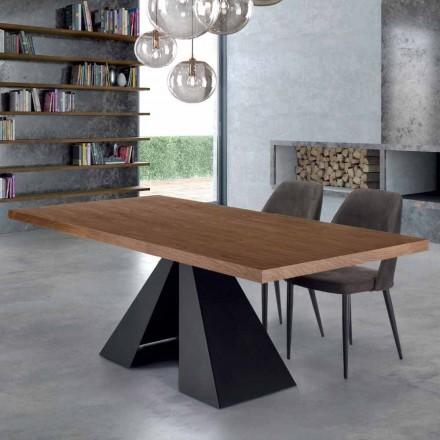 Mesa de jantar moderna em madeira e aço Venereed Made in Italy - Dalmata