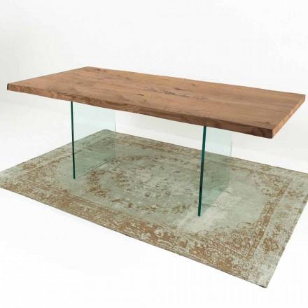Mesa de jantar moderna em madeira e vidro Venereed fabricada na Itália - Strappo