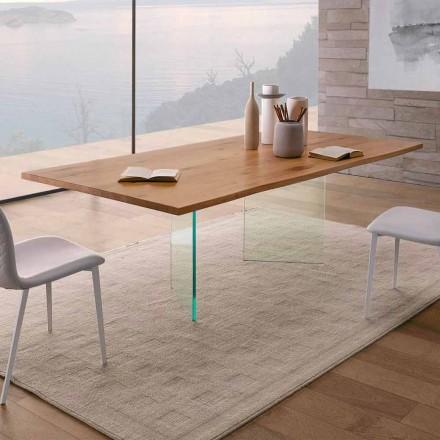 Mesa de Jantar em Carvalho Atado e Vidro de Alta Qualidade Made in Italy - Sibillo