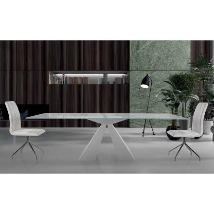 Mesa de jantar moderna em aço branco e vidro fabricado na Itália - Dalmata