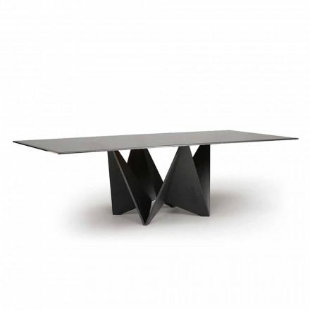 Mesa de jantar luxuosa, tampo de vidro chanfrado fumê feito na Itália - macro