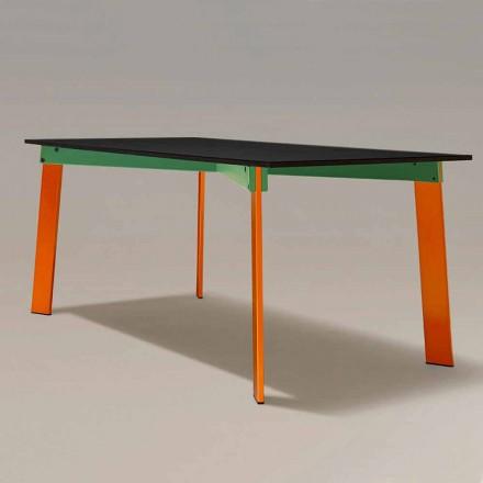 Mesa de jantar moderna Tampo de madeira e base de aço Made in Italy - Aronte