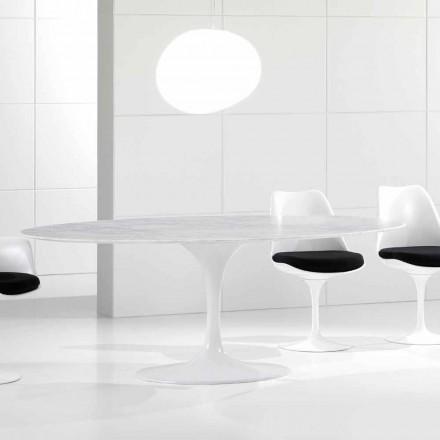 Mesa de jantar oval de luxo, tampo em mármore de Carrara, fabricada na Itália - Nerone