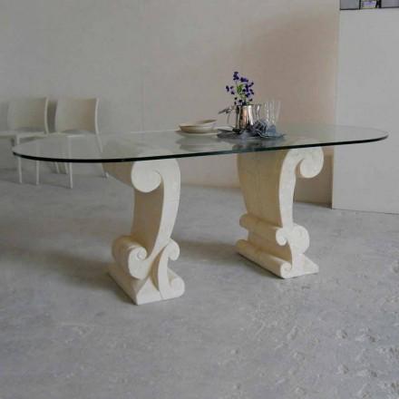 Mesa de jantar com base de pedra natural Vicenza e topo de cristal Aracne