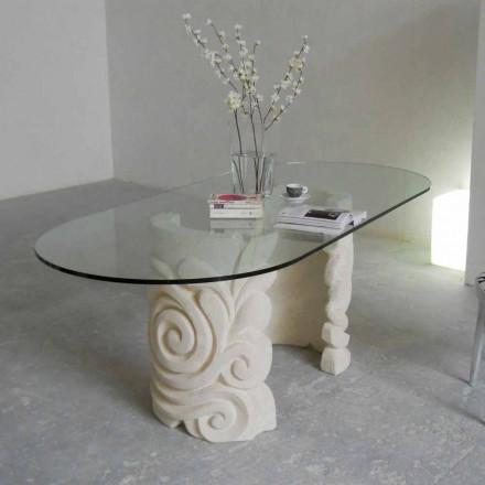 Mesa de jantar design clássico feito de pedra natural Vicenza Aden