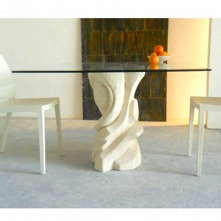 Mesa de jantar quadrada Leda, tampo de cristal, base em pedra natural Vicenza