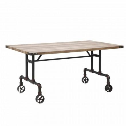 Mesa de jantar retangular de design, tampo de MDF e base de metal - Fabrice