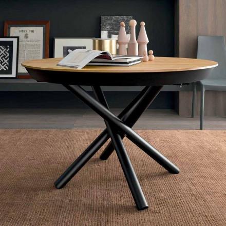 Mesa de jantar extensível redonda com tampo de madeira Made in Italy - Crodino