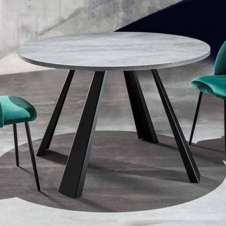 Mesa de Jantar Redonda Extensível até 370 cm em Madeira e Metal - Caimano