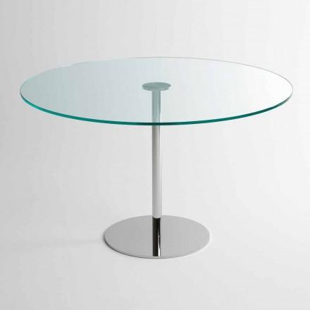 Mesa de jantar redonda com tampo de vidro extraleve fabricada na Itália - Dolce