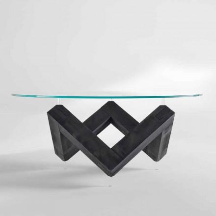 Modern design redondo mesa de jantar com tampo de cristal Bao, made in Italy