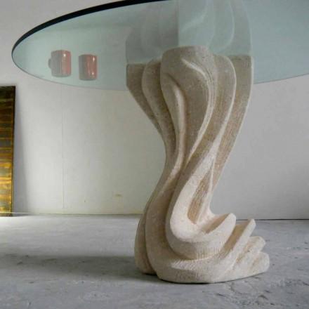 Mesa de jantar redonda feita de pedra natural Vicenza e cristal Cadmo