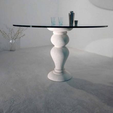 Mesa de jantar redonda feita de cristal e pedra natural Vicenza Edipo