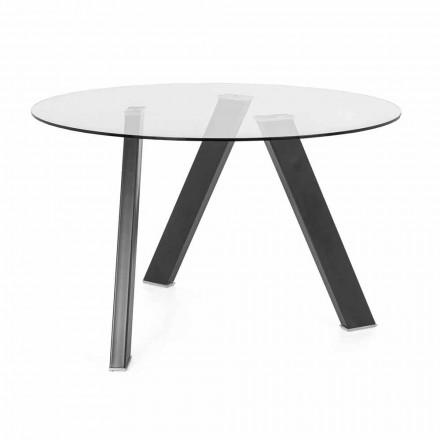 Mesa de jantar redonda Diâmetro 120 cm em vidro e metal design - Tonto